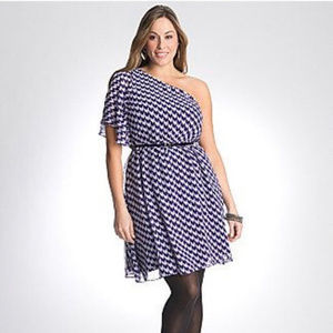 Lane Bryant Blue One Shoulder Chevron Dress Size22